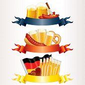 Festliche Oktoberfest-Header mit Bier, Wurst, Fahne und Brezel. Bereit für Ihren eigenen Text oder design