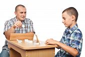 Father And Son Playing Rummy