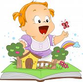 image of pop up book  - Illustration of a Toddler Playing with a Pop Up Book - JPG