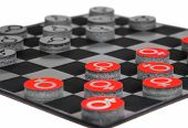 Concept With Male And  Female Gender Symbols Playing Checkers