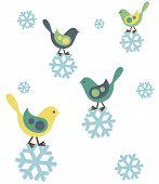 Birds and snoflakes