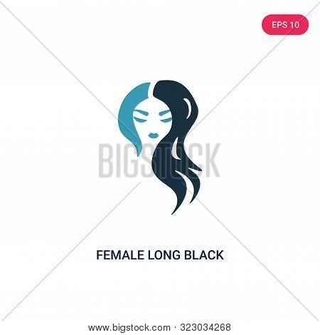 poster of female long black hair icon in two color design style.