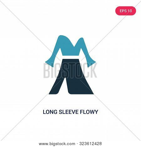 poster of long sleeve flowy dress icon in two color design style.