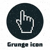 Grunge Pixel Hand Cursor Icon Isolated On White Background. Pointer Hand Cursor. Vector Illustration poster