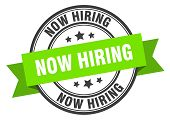 Now Hiring Label. Now Hiring Green Band Sign. Now Hiring poster