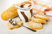 Loaf Of Bread, Checkered Napkin, Jar With Chocolate-nut Paste, Slices Of Bread, Spoon With Paste On  poster