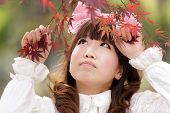 stock photo of lolita  - japanese lolita portrait in  fall season - JPG
