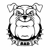 Bulldog Head Mascot. Vector Illustration For Use As Print, Poster, Sticker, Logo, Tattoo, Emblem And poster
