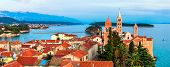 Beautiful Island Rab in Croatia. Townscape panorama over sunset. poster