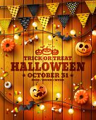 Halloween Poster With Halloween Elements On Wood Texture Background.party Invitation Concept In Trad poster