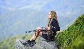 Hunting Season. Hunter Mountains Landscape Background. Sexy Warrior. Aiming Concept. Amazon Girl Sit poster