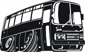 foto of motor coach  - Vector detailed silhouette cartoon tourist bus isolated on white background. Available EPS-8 vector format. - JPG