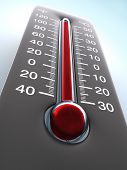 image of hot-weather  - Degree of hotness the thermometer shows the temperature on the ambience - JPG