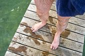wet hairy legs after swimming in the lake Starnberg poster
