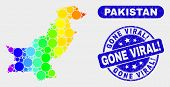 Spectrum Dotted Pakistan Map And Seal Stamps. Blue Round Gone Viral Exclamation Distress Seal. Gradi poster