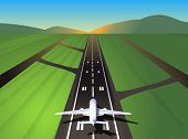 Airplane at takeoff; vector illustration