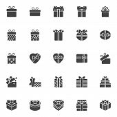 Gift Box Vector Icons Set, Modern Solid Symbol Collection, Filled Style Pictogram Pack. Signs, Logo  poster