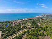 Aerial View Of Praia Do Forte Coastline Town With Blue Ocean, Bahia, Brazil. Travel Tropical Destina poster