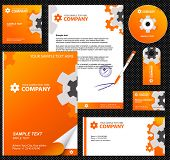 Business style, corporate identity template 8 (orange industrial):  blank, card, pen, cd, note-paper, envelope