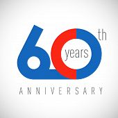 60 Th Anniversary Numbers. 60 Years Old Congrats, Colorful Logotype. Congratulation Idea. Isolated A poster