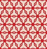 Hand Drawn Abstract Winter Snowflakes Pattern. Stylish Crystal Stars Grid Red Background. Elegant Si poster
