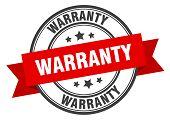 Warranty Label. Warranty Red Band Sign. Warranty poster