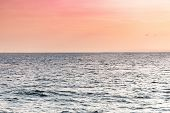 Sea Sunset Over Pier. Beautiful Seascape. Dreams Of Travel And Freedom. Buoys At Sea. Sundown Sky An poster
