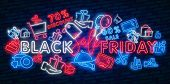 Neon Black Friday Neon Sign. Web Banner, Logo, Emblem And Label. Sale Neon Sign, Bright Signboard, L poster