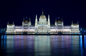 Budapest: night view of the Hungarian Parliament Building that is reflected in the River Danube
