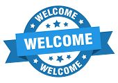 Welcome Ribbon. Welcome Round Blue Sign. Welcome poster