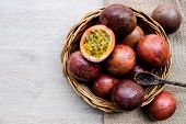 Top View Passion Fruit In Basket On Wood Sheet.the Tropical Fruit.is A High Vitamin Fruit.copy Space poster