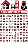 100 construction icons set, vector