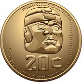 Vector Mexican Money Gold Coin With The Image Of The Indian