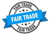 Fair Trade Label. Fair Trade Blue Band Sign. Fair Trade poster