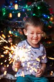 Beautiful Little Child Holding Burning Sparkler On New Years Eve, Bengal Fire. There Is A Backgroun poster