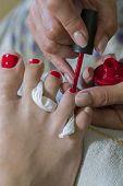 Pedicure Process Macro Closeup. Pedicure Process And Spa Procedure Macro Closeup. Concept Body Care. poster