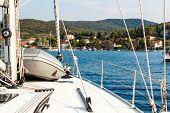 Coastline In Loviste , Peljesac, Croatia, View From Yacht. Holiday In Croatia. Ship Transportation.  poster