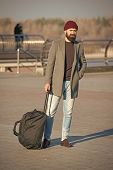 Traveler With Suitcase Arrive Travel Destination. Hipster Ready Enjoy Travel. Looking For Accommodat poster