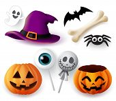 Halloween Objects Vector Set. Halloween Trick Or Treat Elements And Object Of Hat, Pumpkins, Spider, poster
