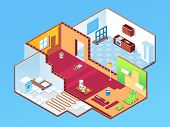 Isometric Apartment During Repair Or House, Home Rooms At Renovation. Indoor Design For Bedroom, Gue poster