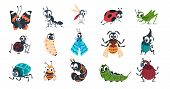 Cute Insects. Cartoon Funny Colorful Bugs Bees Hornet Butterfly Caterpillar Spider With Cute Faces F poster