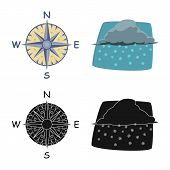 Vector Design Of Weather And Climate Sign. Collection Of Weather And Cloud Stock Vector Illustration poster
