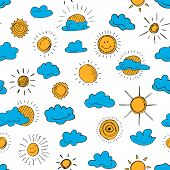 Seamless Pattern Of Weather Symbols Hand Drawn  In Cartoon Style. Vector Illustration Of Isolated We poster