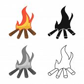 Isolated Object Of Campfire And Blaze Icon. Collection Of Campfire And Night Vector Icon For Stock. poster
