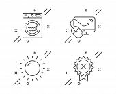 Sunny Weather, Laundry And Computer Mouse Line Icons Set. Reject Medal Sign. Sun, Washing Machine, P poster