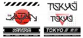 Tokyo And Japan Lettering Futurism For T-shirt Design And Merch. Trendy Digital Elements For Silkscr poster