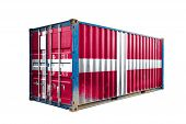 The Concept Of  Denmark Export-import, Container Transporting And National Delivery Of Goods. The Tr poster