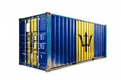 The Concept Of  Barbados Export-import, Container Transporting And National Delivery Of Goods. The T poster