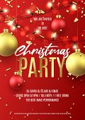 Merry Christmas Party Flyer. Holiday Poster With Realistic Christmas Red And Golden Balls, Golden Co poster