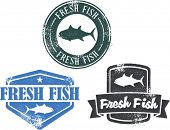 Vintage Style Fresh Fish Stamps